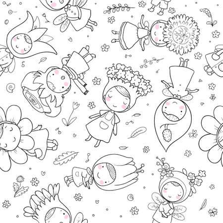 Pattern with Cute cartoon flower fairies. Forest gnomes. Fairytale creatures. Funny kids Illusztráció