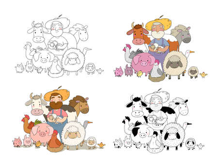 Cute cartoon farmer and animals. Country man and cow, horse and sheep, chicken and goose, pig and rooster. Illustration