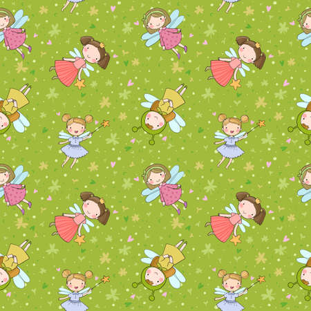 Pattern with cute cartoon fairies. Fairy elves. Childrens illustration. tooth Fairy Illusztráció