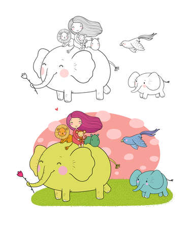 Cute cartoon girl, elephant, monkey and hippo. African animals.