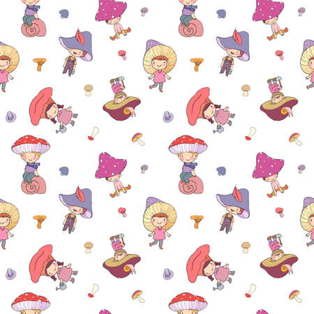 Pattern with cute cartoon gnomes mushrooms. Forest elves. Little fairies