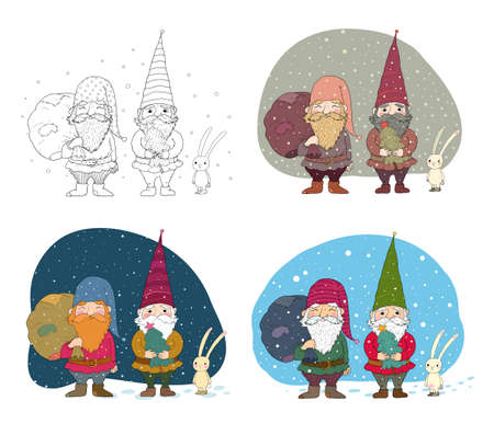 old Christmas gnomes and a hare. New Year card