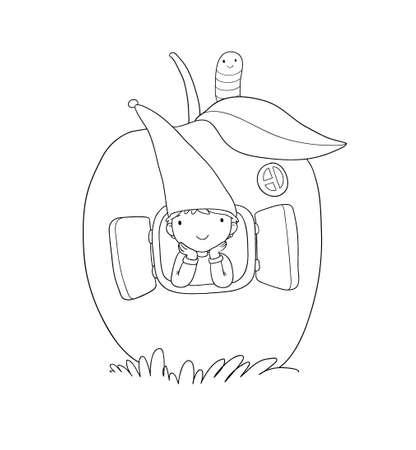 Cute cartoon gnome in the apple house. Wood Elf