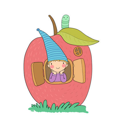 Cute cartoon gnome in the apple house. Wood Elf