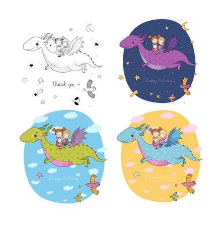 cute little kids are flying a dragon. Cartoon brother, sister and dinosaur. Illusztráció