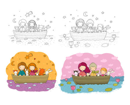 Cute cartoon sisters swim in a boat with hares, a cat and a fox. Little girls and funny animals