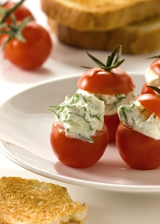 tomatoes stuffed with cottage cheese with herbs