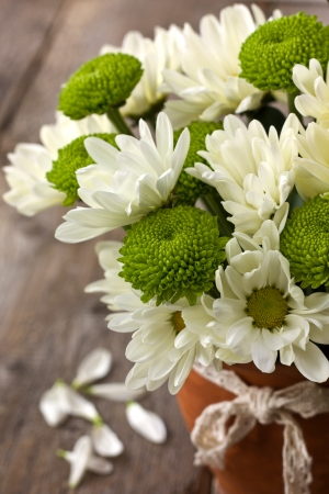 Bouquet of white and green chrysanthemums in a ceramic vase on a wooden  Stock Photo