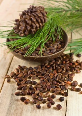 cedar nuts with pine cones and branch on a wooden background Standard-Bild