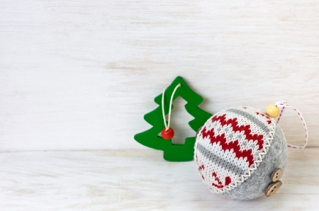 Christmas decoration on the wooden background with empty space photo