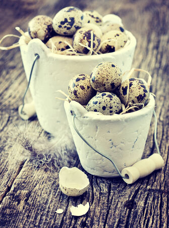 quail eggs in a buckets on a wooden table photo