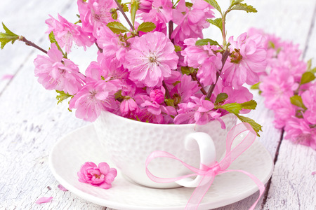 bouquet of sakura blossoms in a cup on a wooden background