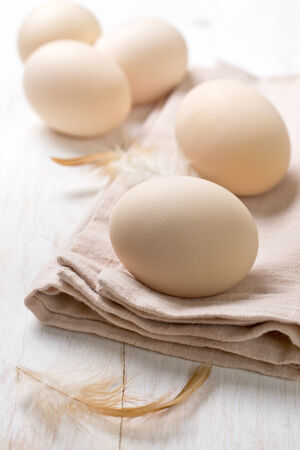 fresh chicken eggs on wooden background photo