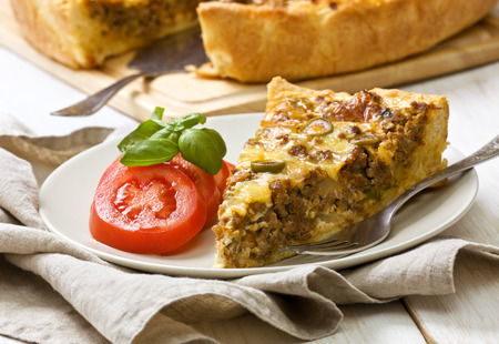 meat pie on a wooden background 스톡 콘텐츠