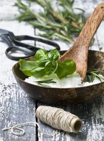 sea salt with herbs: basil and rosemary photo