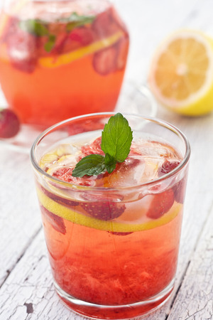 lemonade with strawberries Stock Photo