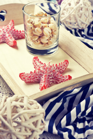 beach house decor, setting summer vacation (Toning) 스톡 콘텐츠