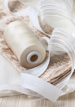 Accessories for sewing curtains: tulle, fabric, thread, tape Curtain
