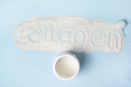 Blue  with collagen powder close up