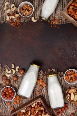 Vegan nut milk in glass bottles, different types of nuts on a dark