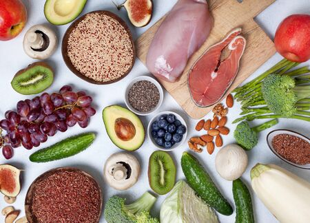 Pegan diet products : meat, fish, cereals, vegetables, nuts and berries