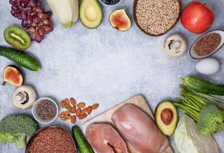 Pegan diet products : meat, fish, cereals, vegetables, nuts and berries.