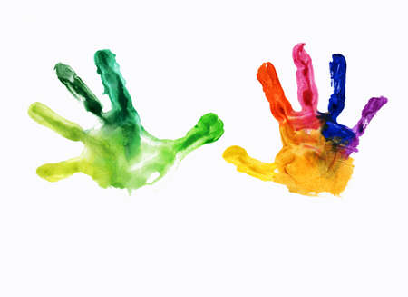 children painting: watercolor handprint, on a white background Stock Photo
