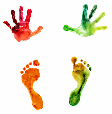 watercolor colorful handprint and footprint, on a white background photo