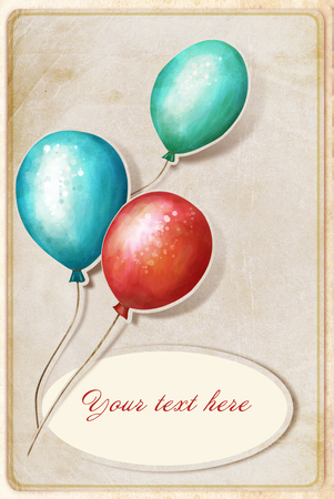 background with colorful balloons and place for text photo