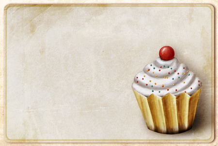 birthday invitation: vintage background with cupcake