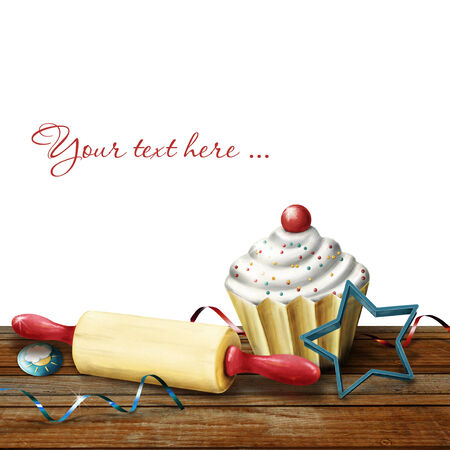 deliciously: cake, rolling pin, molds for baking , candy and serpentine on the background bokeh Stock Photo