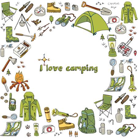 手の描かれたキャンプ装置記号やアイコン、ハイキング、登山、キャンプの落書き要素、ベクトル図、キャンプ服、シューズ、ギアを設定し、キャ