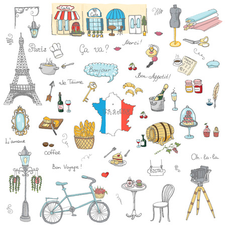 bonjour: Set of hand drawn French icons, Paris sketch illustration, doodle elements, Isolated national elements made in vector. Travel to France icons for cards and web pages, Paris symbols collection