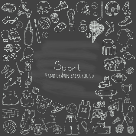 football ball: Hand drawn doodle sport set. Vector illustration. Sketchy sport related icons, tennis, golf, baseball, basketball, football, soccer, volleyball, rugby, hockey, fitness, boxing, running, bicycle