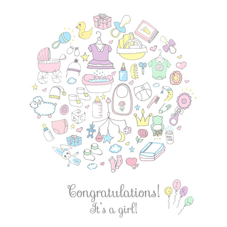 foot print: Set of baby shower design vector illustration icons, hand drawn baby care elements, its a baby girl design icons, childrens girl clothing, toy, bib, nappy, carriage, socks, bottle, baby foot print Illustration