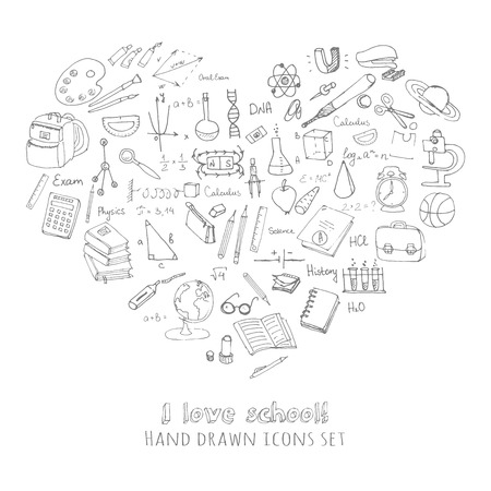 calculus: Freehand drawing school items, Back to School, I love school Hand drawing set of school supplies sketchy doodles vector illustration, doodles, science, physics, calculus, oral exam, history, biology