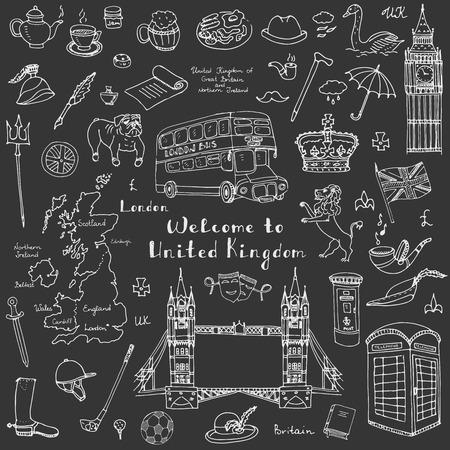britannia: doodle United Kingdom set illustration UK icons  Welcome to London elements British symbols collection