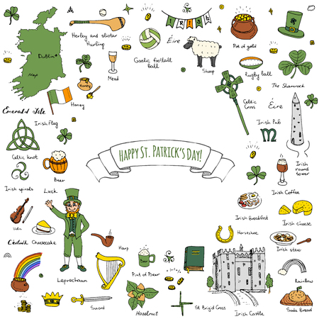 hurling: Happy St. Patricks Day!  doodle Ireland set illustration Sketchy Irish traditional food icons elements Flag Map Celtic Cross Knot Castle Leprechaun Shamrock Harp Pot of gold
