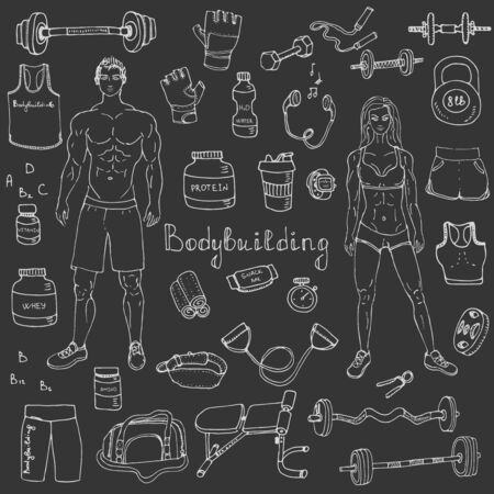 gym workout: doodle Bodybuilding set illustration sport icons Body building elements Fitness symbols collection Sport equipment Fitness and gym design Strong man and fit woman Weight lifting gear Illustration