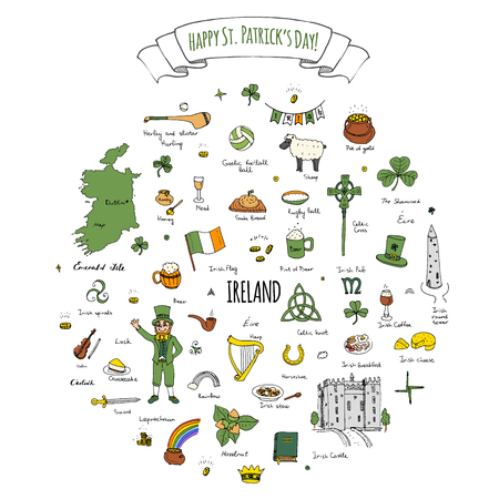 gold buckle: Happy St. Patricks Day!  doodle Ireland set illustration Sketchy Irish traditional food icons elements Flag Map Celtic Cross Knot Castle Leprechaun Shamrock Harp Pot of gold