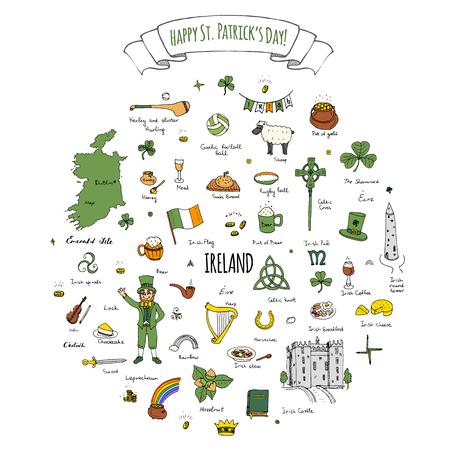 Happy St. Patricks Day!  doodle Ireland set illustration Sketchy Irish traditional food icons elements Flag Map Celtic Cross Knot Castle Leprechaun Shamrock Harp Pot of gold