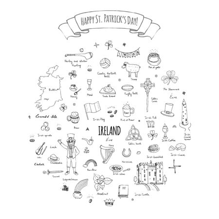 irish map: Happy St. Patricks Day!  doodle Ireland set illustration Sketchy Irish traditional food icons elements Flag Map Celtic Cross Knot Castle Leprechaun Shamrock Harp Pot of gold