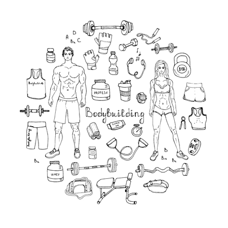sport equipment: doodle Bodybuilding set illustration sport icons Body building elements Fitness symbols collection Sport equipment Fitness and gym design Strong man and fit woman Weight lifting gear Illustration