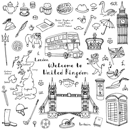 icon collection: doodle United Kingdom set illustration UK icons  Welcome to London elements British symbols collection
