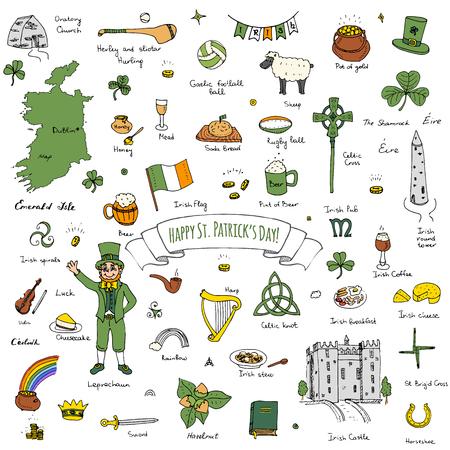 ¡Feliz dia de San Patricio! doodle de Irlanda se ha fijado Ilustración incompleta irlandeses elementos iconos de alimentos tradicionales mapa de la bandera de la cruz céltica del nudo Castillo Leprechaun del trébol Arpa olla de oro Ilustración de vector