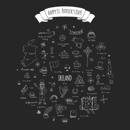 the harp: ¡Feliz dia de San Patricio! doodle de Irlanda se ha fijado Ilustración incompleta irlandeses elementos iconos de alimentos tradicionales mapa de la bandera de la cruz céltica del nudo Castillo Leprechaun del trébol Arpa olla de oro
