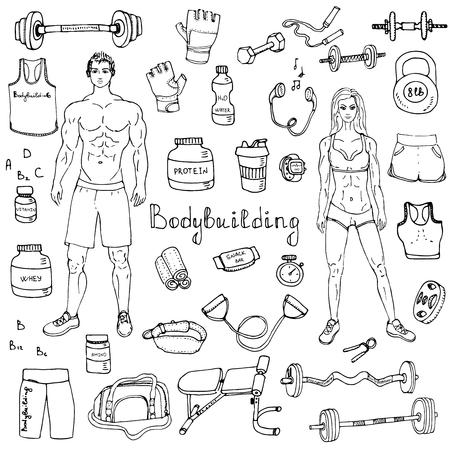 doodle Bodybuilding mis sport icons illustration équipement sportif de collecte des symboles des éléments de construction de remise en forme Body Fitness et la conception de gymnastique homme fort et en forme engrenage femme Haltérophilie Vecteurs