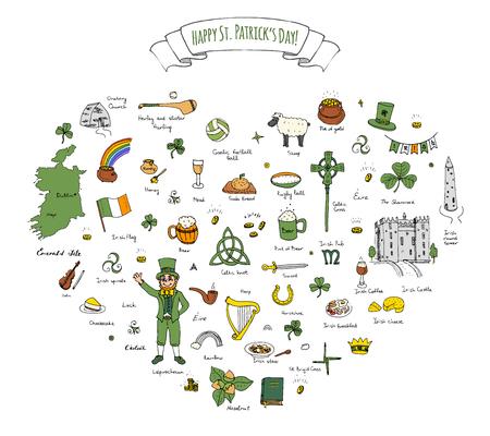 gold buckle: Happy St. Patricks Day!  doodle Ireland set illustration Sketchy Irish traditional food icons elements Flag Map Celtic Cross Knot Castle Leprechaun Shamrock Harp Pot of gold
