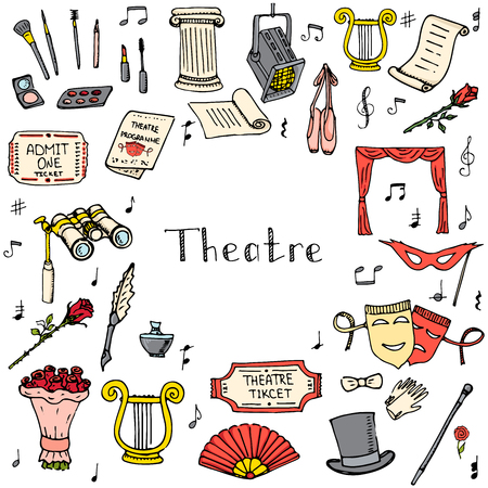 doodle Theatre set illustration Sketchy theater icons  Theatre acting performance elements Ticket Masks Lyra Flowers Curtain stage Musical notes Pointe shoes Make-up artist tools