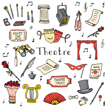 musical theater: doodle Theatre set illustration Sketchy theater icons  Theatre acting performance elements Ticket Masks Lyra Flowers Curtain stage Musical notes Pointe shoes Make-up artist tools